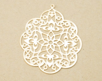 Flower Filigree Pendant(Large), Round Charm, Jewelry Supplies, Press Charm, Matte Gold Plated over Brass - 2 Pieces-[GP0010]-MG
