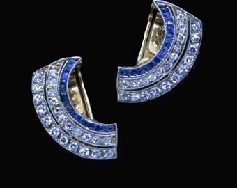 Antique Vintage Art Deco Earrings Sapphires Diamonds 18k Gold Platinum (#6519)