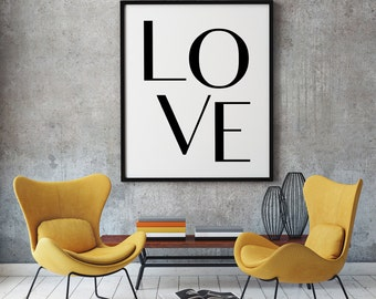 Love Print, Printable Love, Typography Wall Art, Love Digital Print, Love Poster, Downloadable Prints, Nursery Wall Prints