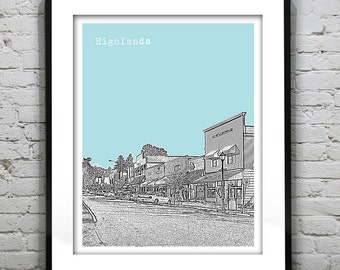 Highlands North Carolina Poster Skyline Art Print North Carolina NC Version 1