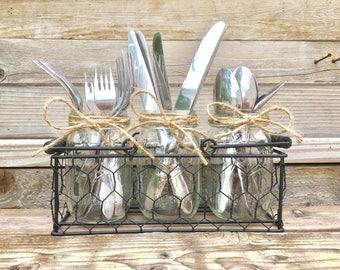 Mason Jar Silverware caddy, Chicken Wire Silverware Holder, Rustic Party Decor, Fork, Spoon Knive Caddy, Farmhouse Silverware Organizer