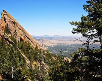 Looking down on Boulder from the Flatirons, Boulder Colorado, Chautauqua Park, Flatirons, Colorado Print, Colorado Photography, Colorado Art