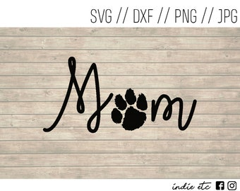 Mom with Pet Paw Print Digital Art File (svg, dxf, png, jpeg)
