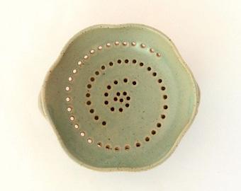 Green ceramic strainer, Ceramic colander, Berry bowl, stoneware