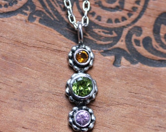 Custom birthstone necklace, custom gemstone necklace, unique mothers necklace, gift for wife mom, recycled silver, triple stone, crush trio
