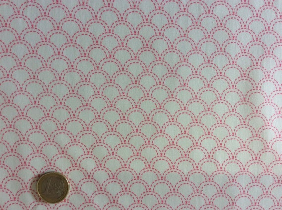 High quality cotton poplin printed in Japan, Japanese coral/white print