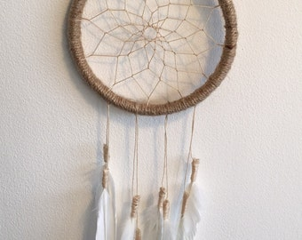 Dream catcher, Dreamcatcher, boho decoration, bohemian decoration, new home gift, new baby gift, white feathers