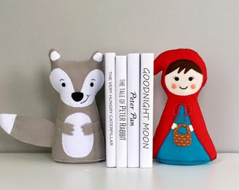 Little Red Riding Hood bookend set, book ends, children's bookends, room decor, Fairytale characters, books, Big bad wolf, classic tale