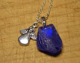 Sea glass and silver angel pendant, Made for an Angel