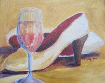 White wine painting, High heel shoes painting, original 10x10 art, white wine lovers art, chardonnay, white wine gift, wine coinnoiseur art