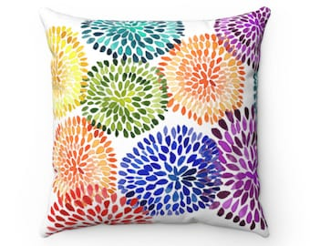 Dancing Dahlias Throw Pillow Cover, Throw Pillow for Couch, Colorful Pillows, Decorative Pillows for Home Decor, Purple Pillow, Pillow Cases