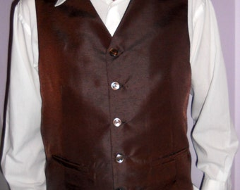 Chocolate brown clasic men's vest, size XL formal mens vest, ready to ship