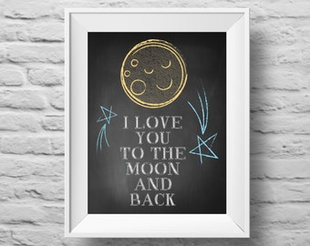 I Love You to the Moon and Back unframed art print Typographic poster, inspirational print, self esteem, wall decor, quote art. (R&R0030)