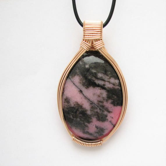 One of a kind Pendant 14 Kt. Rose Gold 40x30mm Rhodonite  from Butte, Montana