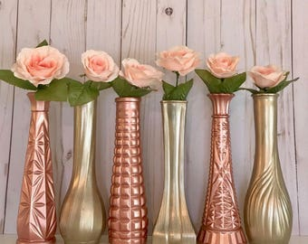 Gold Vases, Rose Gold, Shabby Chic, Gold Wedding, Centerpieces, Vintage, Bud Vase Lot, Champagne Gold