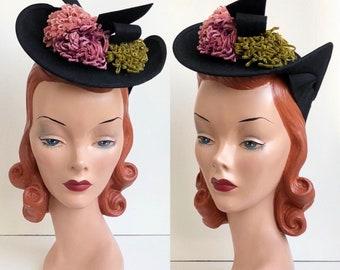 RESERVED | 1930's Inky Black Wool Felt Suiter Tilt Hat with Green Purple & Pink Velvet Pom Poms and Felt Bow Detail