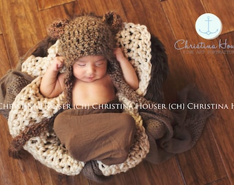 SET Bear Hat, Brown Faux Fur, Cream Blanket, Brown Cheesecloth Wrap Newborn Photography
