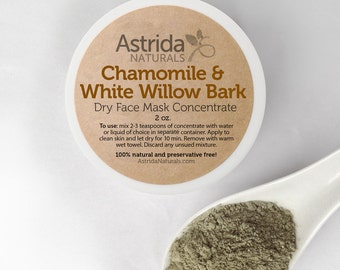 Clay Face Mask / Clarifying Chamomile & Willow Bark / French Green Clay Mask / Bentonite Clay Mask / Botanical Face Mask