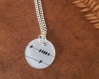 Birds on a Wire (The Original Twitter) Pendant on Silver Chain