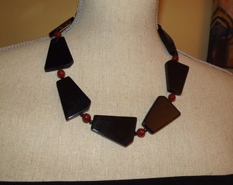 Unique designer necklace - black agate and carnelian - statement necklace - one of a kind - wearable art