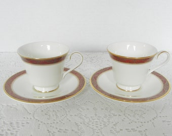 Vintage Royal Doulton Martinique Tea Cup and Saucer, 2 Sets,      Replacement Sets, English Fine Bone China, 1990
