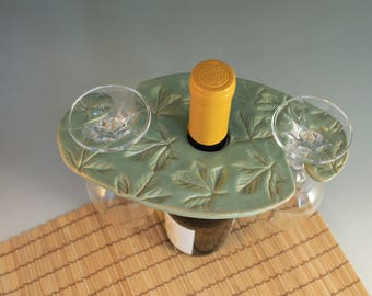 Wine  bottle Glass Holder -  glass holder for wine bottle - green with leaves - ceramic - hostess gift