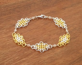 Gold and Silver Tone European Chainmaille Swarovski Crystal Bracelet