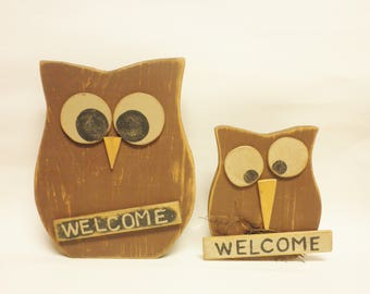 Primitive Owl, Welcome Signs, Chunky Animals, Fall Decor