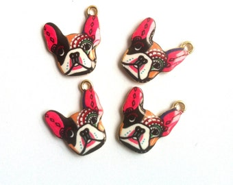 Abstract Painted French Bulldog Enamel Charms 4pcs