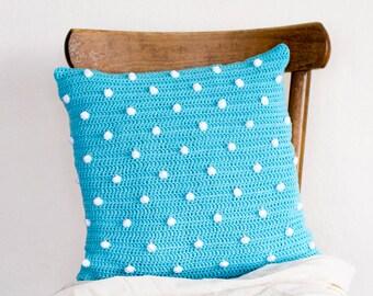 Polka Dot Pillow Cover in Blue and White, 16 x 16 Crochet Cotton Cushion Cover, Polka Dot Home Decor