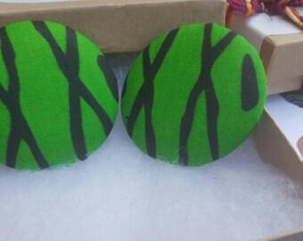 Large button earrings, Green fabric earrings, Button earrings, Large fabric earrings, Green button earrings, Fabric earrings, Beach earrings