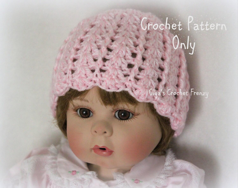 Baby Girl Hat Crochet Pattern Beginner Skill Level Size 0-3