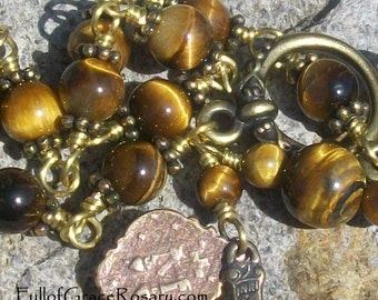 Tiger Eye Rosary Bracelet, Gold Brown Gemstone, Brass Accents, Bronze Medals, Unbreakable, Catholic, One Decade