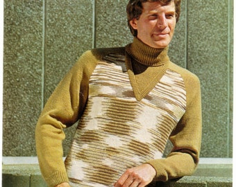 Mens Sweater Vintage Knitting Pattern  - Wendy Knitting Pattern - Original