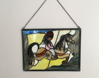 "1980 Signed Ted Degrazia stain glass picture/sun catcher ""Merry Little Indian"""
