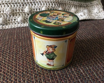 Vintage Hummel Style Candy Tin With Lid