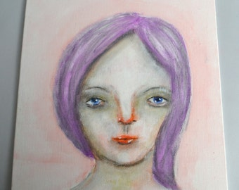 CLEARANCE SALE Prudence, 8x10 inch Original Painting, Small Work, Girl Portrait Painting, Woman's Face, Purple Hair, Blue Eyes, CraftyMoira