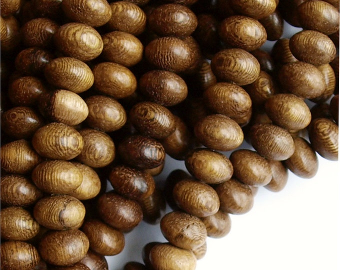 Wood Bead, Rondelle 6x10mm, Robles - 16 Inch Strand (WDRN-10RB)
