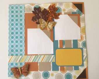 Butterfly Fall Geometric Premade Scrapbook Pages