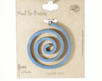 Hypnotic Swirl - Laser Cut Wooden Pendant