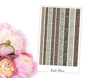 Planner stickers: washi strips - Neutral glitter (not ec size) | Perfect for your filofax / erin condren planner etc