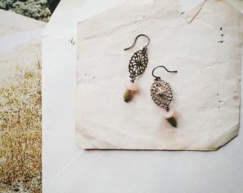 Boho pendantes en perles Boucles d'oreilles, boucles d'oreilles Style Vintage de pêche, vert et or pour les femmes