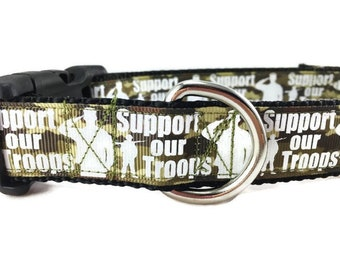 Dog Collar, Troops, 1 inch wide, adjustable, quick release, medium, 13-19 inches