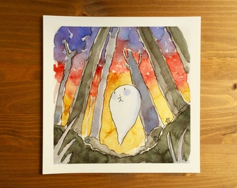 "Ghost Buddy ""Lost"" Watercolor Print 8x8 by Kendra Minadeo Nursery Art, Baby Art, Nursery Decor, Inktober"
