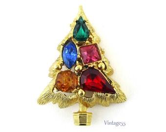 Rhinestone Christmas Tree Gold Tone Vintage
