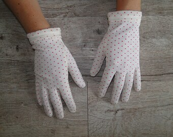vintage white gloves with red polka dots