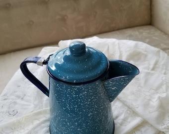 Pioneer decor, Vintage graniteware, Blue speckle enamelware,  Coffee Pitcher, Coffee Kettle, Metal Coffee Canister, Blue enamel Carafe