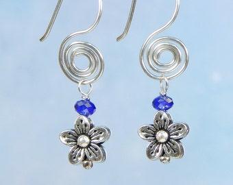 Flower Dangle Fire Polished Blue Sapphire Spiral Tarnish Resistant Sterling Silver Argentum Earrings