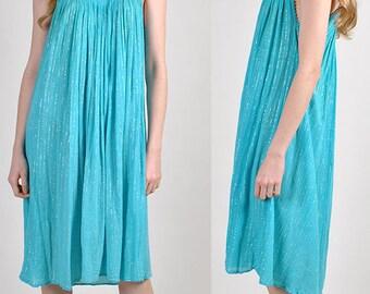 beautiful vintage blue gauze summer dress    H13
