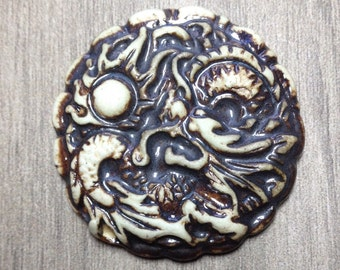 Large Dragon Ceramic Cabochon Stone in Pewter and Bone
